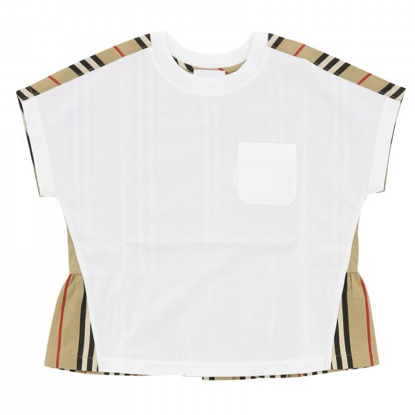 Burberry cotton t-shirt with striped panel