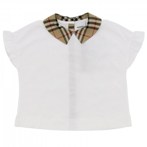 T-shirt Burberry in cotone con collo check