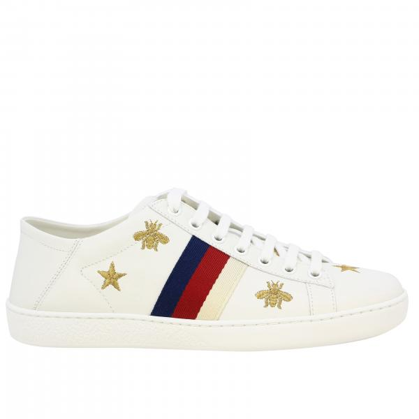 Gucci New Ace sneakers in leather with Web bands and embroidery