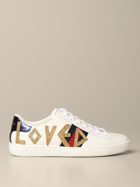 Sneakers New Ace Gucci in pelle con patch loved