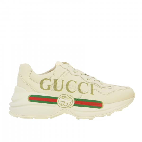 Sneakers Rhyton Gucci in pelle con maxi stampa logo
