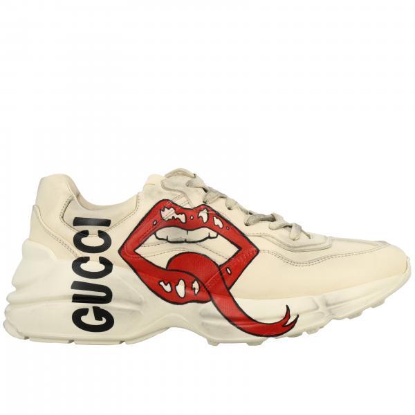 Кроссовки Rhyton Gucci из кожи с рисунком Губы