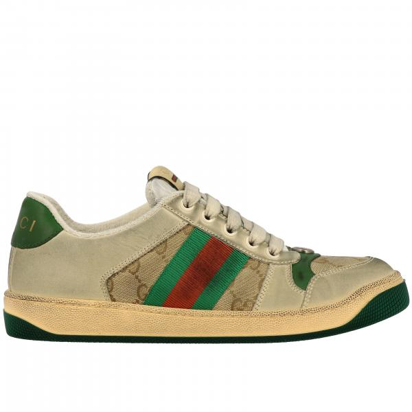 Sneakers Screener Gucci in tela GG Supreme e pelle con fasce web