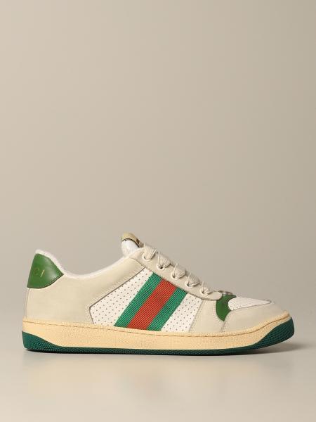 Sneakers Screener Gucci in pelle con fasce web