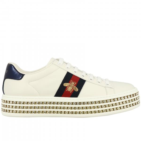 Gucci New Ace sneakers in leather with Web bands and rhinestone platform sole