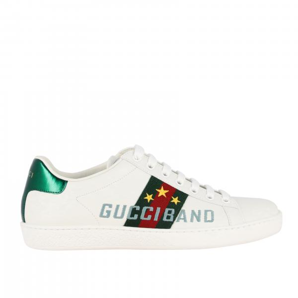 New ace sneakers pelle con ricamo gucci band
