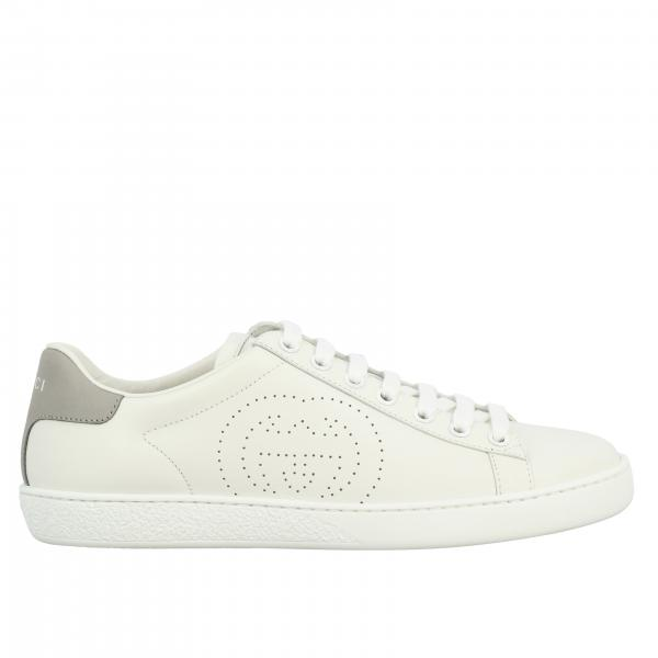 Sneakers New Ace Gucci in pelle con logo traforato
