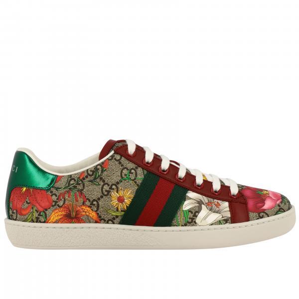 Sneakers New Ace Gucci in pelle GG Supreme Flora con fasce Web