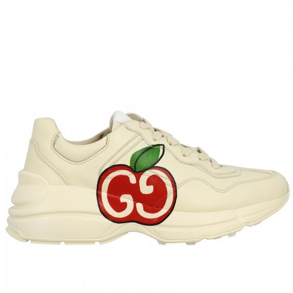Sneakers Rhyton Gucci in pelle con maxi stampa Mela