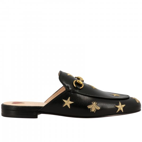 Slipper Princetown Gucci in pelle con morsetto metallico e ricami stelle/api