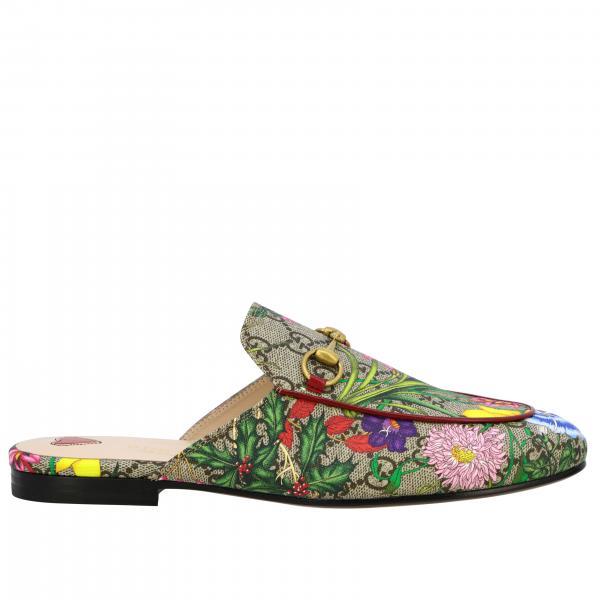 Slipper Princetown Flora Gucci in pelle GG Supreme con morsetto