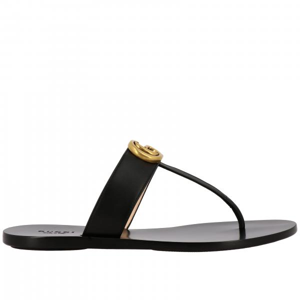 Gucci Marmont thong sandal in leather with GG monogram