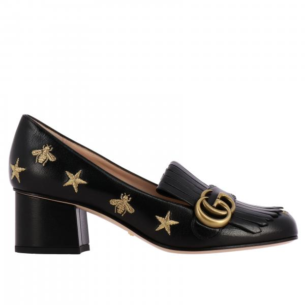 Gucci Marmont décolleté in leather with embroidery