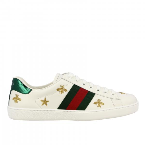 Gucci New Ace sneakers in leather with Web bands and all over embroidery
