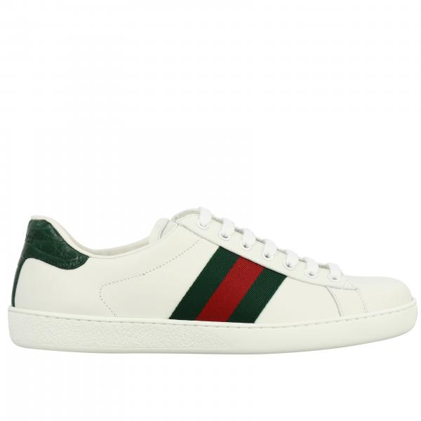Sneakers New Ace Gucci in pelle con fasce Web