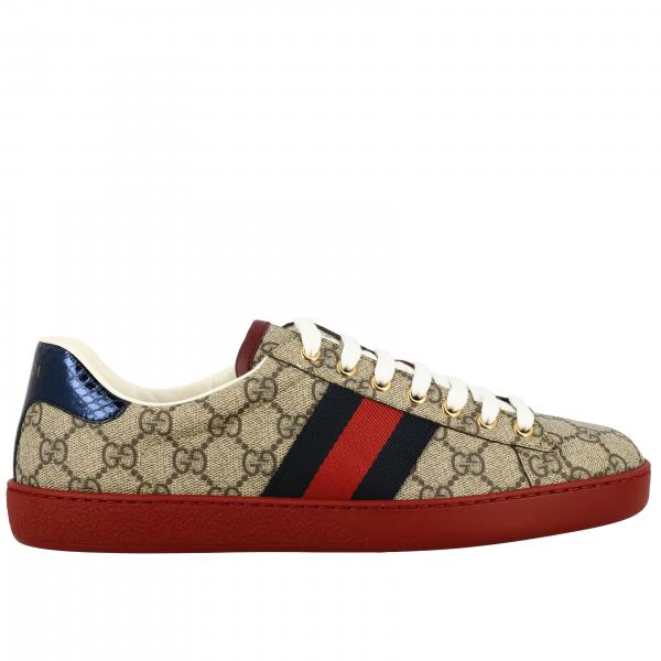 Baskets New Ace Gucci en cuir GG Supreme avec bandes Web