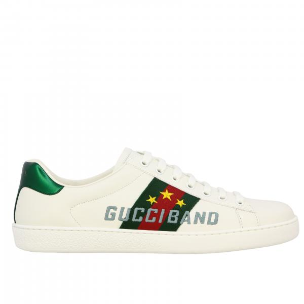 Gucci New Ace leather sneakers with Web bands and Gucci band logo