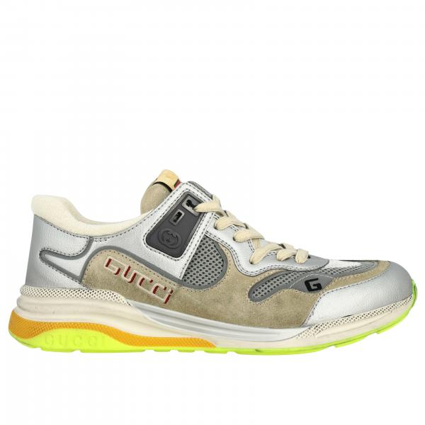 Gucci G line sneakers in laminated leather and mesh with embroidered logo