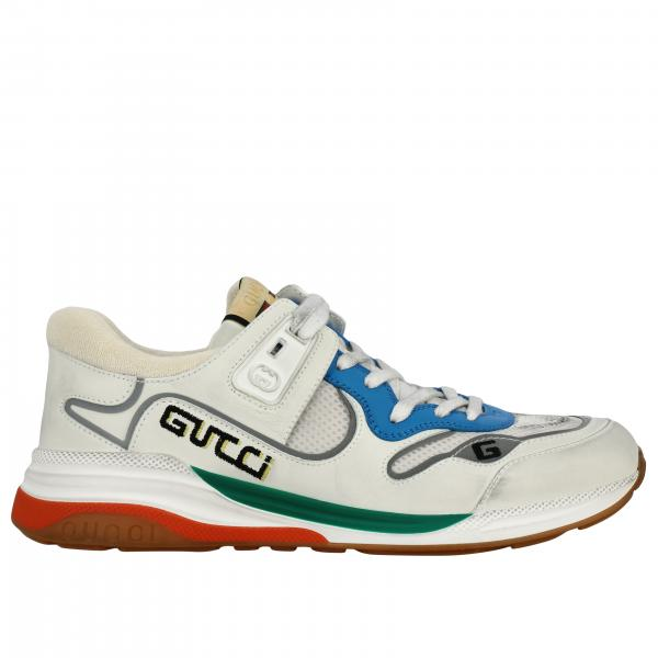 Gucci G line sneakers in leather and mesh with embroidered logo