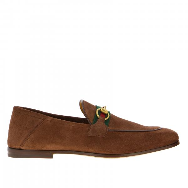 Gucci Web Brixton suede moccasin with clamp