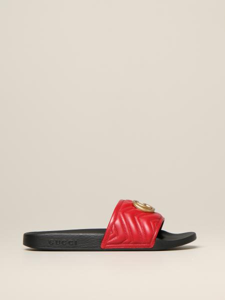 Gucci Pursuit sandal in leather with GG Marmont monogram