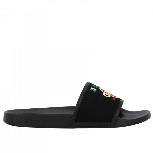 Gucci Pursuit sandal in nylon with embroidered worldwide logo