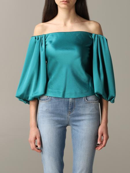 Pinko Mousse 1 top in satin with balloon sleeves