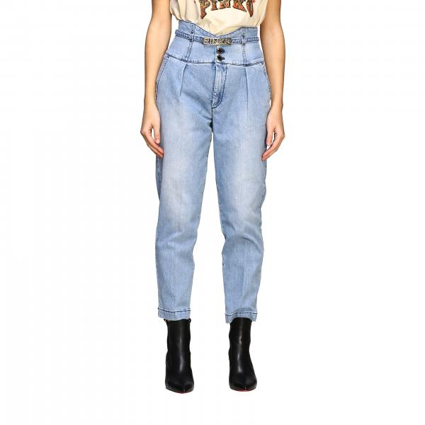 Pinko Ariel high waist jeans with belt and metallic logo