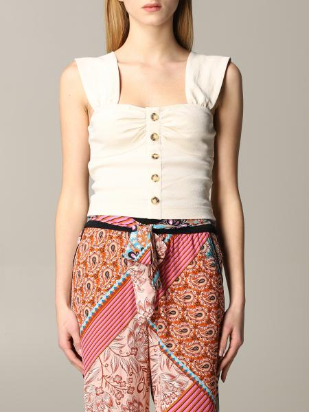 Pinko Carletto top in linen and cropped viscose with buttons