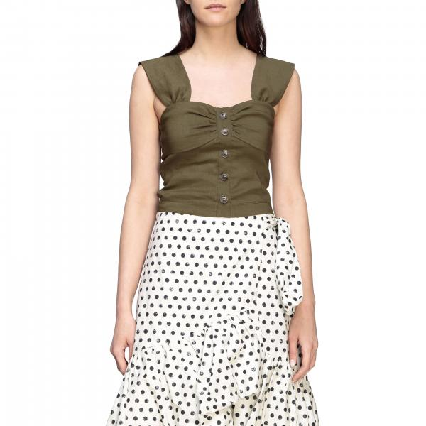 Top pinko carletto top in linen and cropped viscose with buttons Pinko - Giglio.com