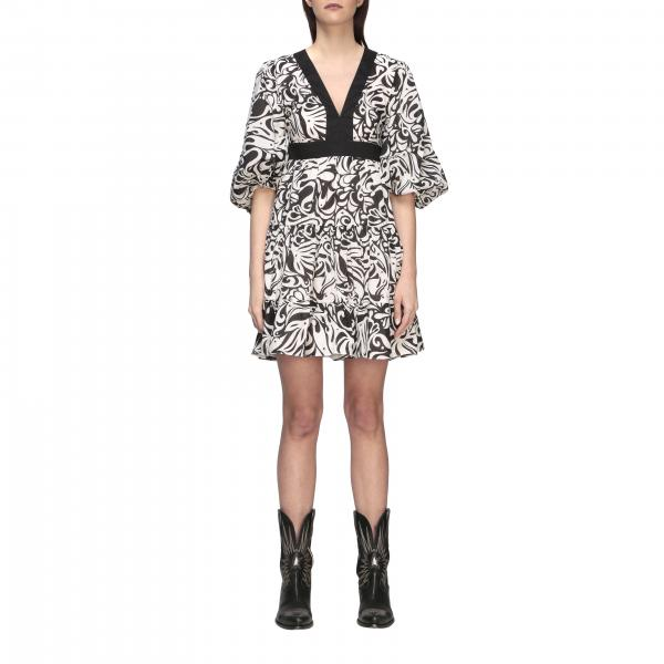 Pinko Balto dress in printed cotton muslin