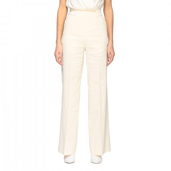 Pinko high-waisted Luigia 3 trousers with flared bottom in linen and viscose