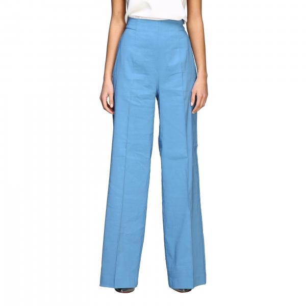 Pantalon Luigia 3 taille haute évasé en lin et viscose