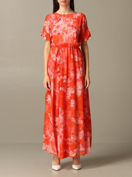 Long Pinko Fantaman dress with floral print