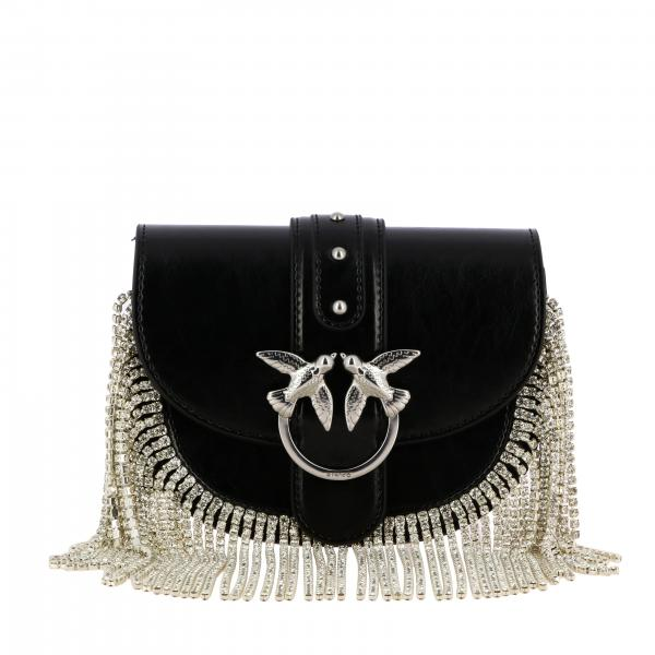 Pinko Go-Round pouch in leather with rhinestone fringes