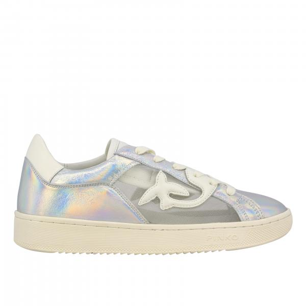Licorice 2 Pinko sneakers in laminated leather and mesh with side swallows