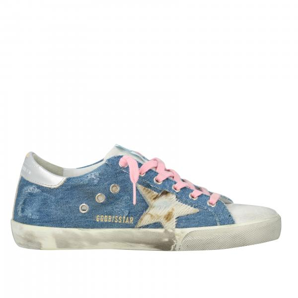 Sneakers Superstar Golden Goose in denim con stella in cavallino
