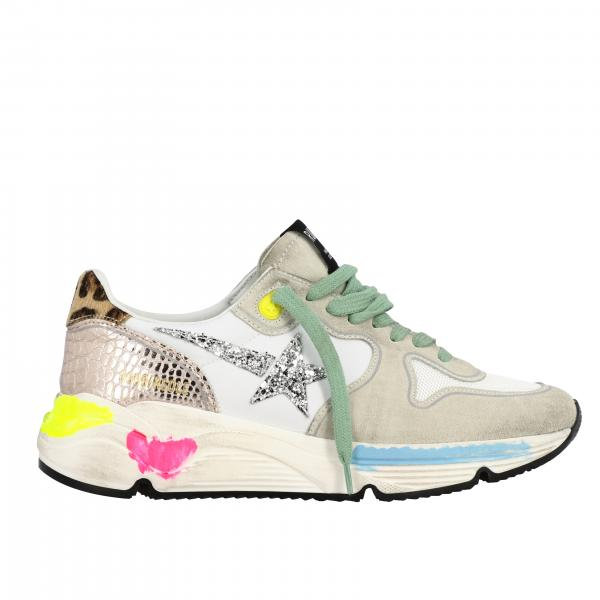Sneakers Running Golden Goose in camoscio rete e glitter