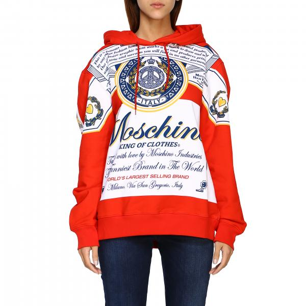 Felpa Capsule Collection Moschino X Budweiser in cotone