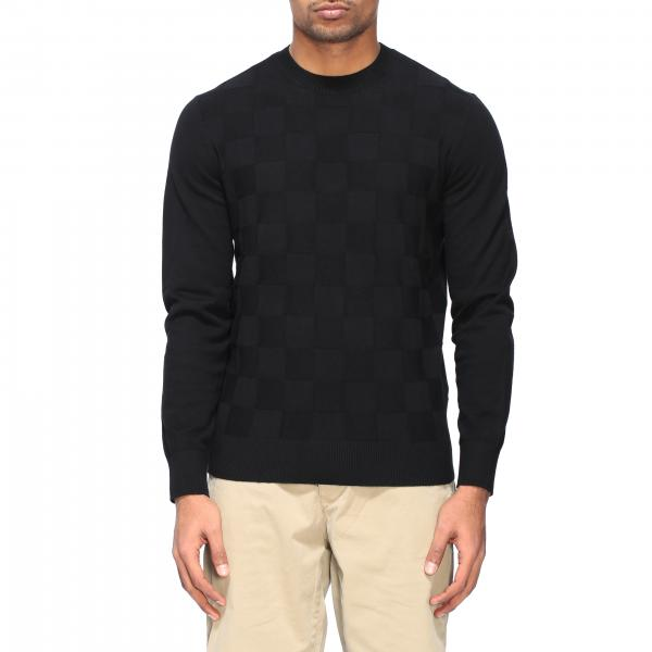 Armani Exchange crew neck sweater with checked pattern