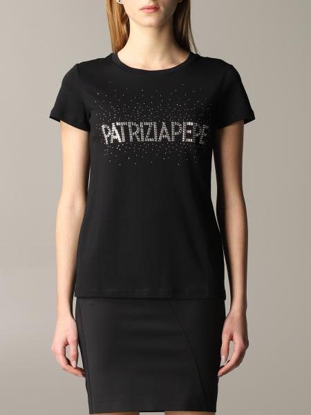 Patrizia Pepe short-sleeved T-shirt with rhinestone logo