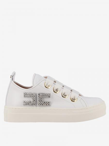 Elisabetta Franchi sneakers in leather with rhinestone logo