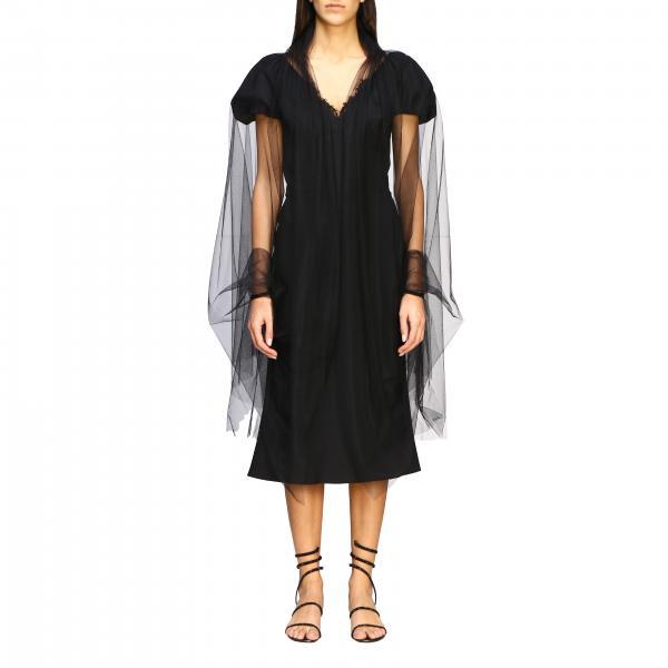 Платье с накидкой из тюля Женское Ermanno Scervino