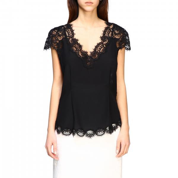 Блузка шелковая с кружевом Женское Ermanno Scervino