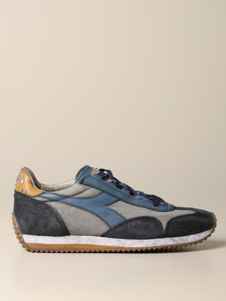 Sneakers Equipe dirty stone wash Diadora Heritage in canvas e camoscio