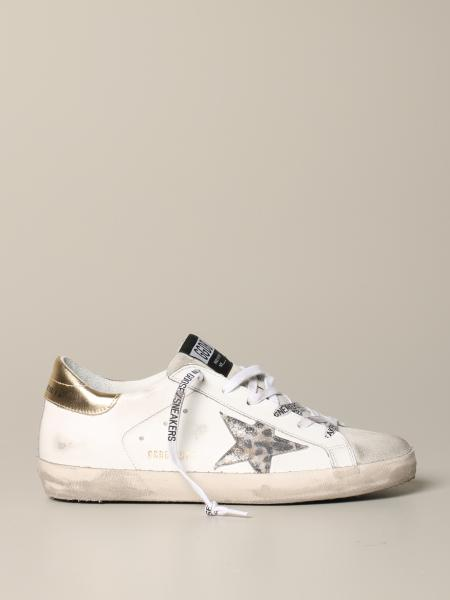 Sneakers Superstar Golden Goose in pelle con stella animalier