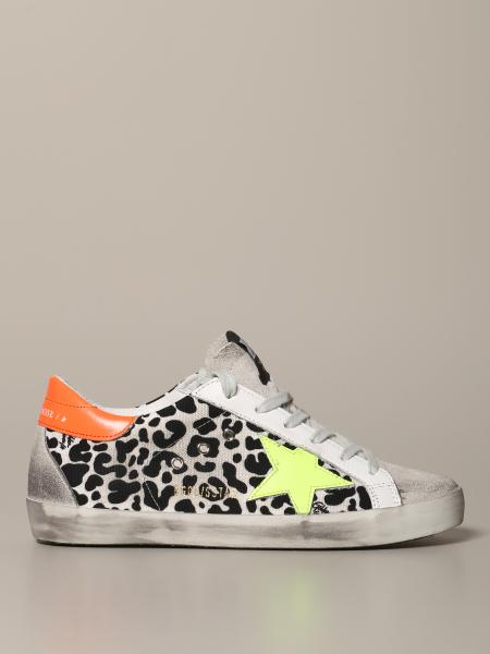Sneakers Superstar Golden Goose in pelle e canvas animalier