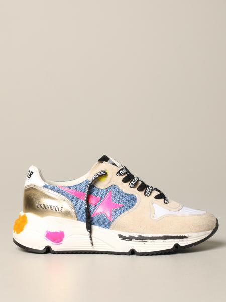 Sneakers Running Golden Goose in camoscio e rete