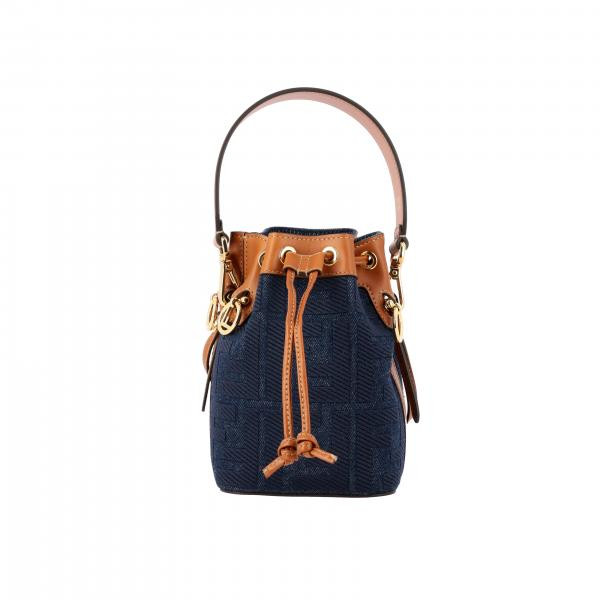 Borsa a secchiello Mon tresor Fendi in denim con monogramma FF all over