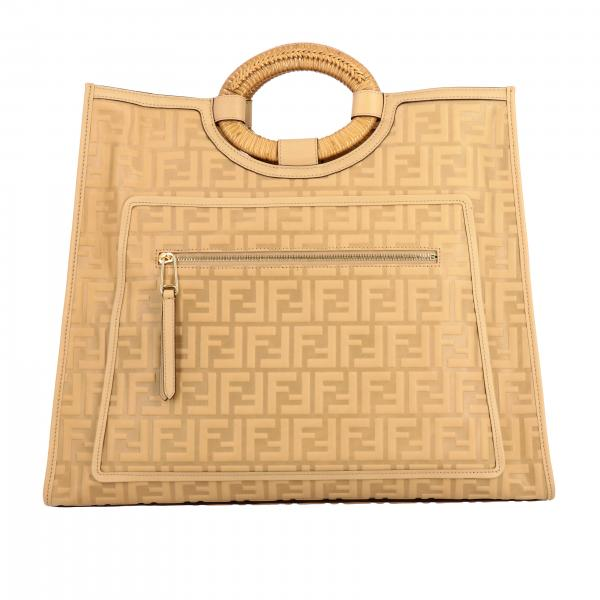Borsa Runaway shopping Fendi in pelle con logo embossed